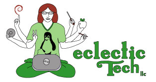 Eclectic Tech Logo - 6-armed goddes/guru weilding technology symbols, a laptop, and 'Peace'.